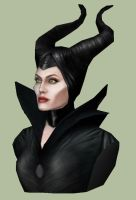 Maleficent papercraft bust by Alejandr0-M