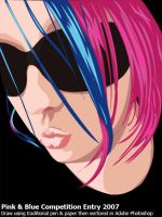 Pink and Blue Hair Girl Vector by squiffythewombat