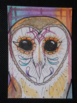 Day of the Dead Owl ACEO by x-ladylex-o