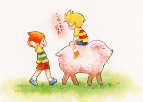 MOTHER3 twins and sheep by ichiyon