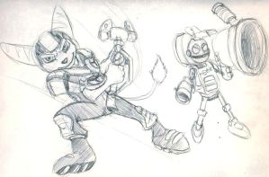 SKETCH  Ratchet and Clank by tamalero