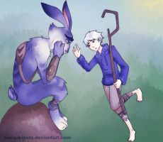 Jack frost and Bunnymund 20 by saeru-bleuts