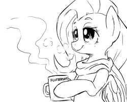 Fluttershy and her warm Coco by Doggie999