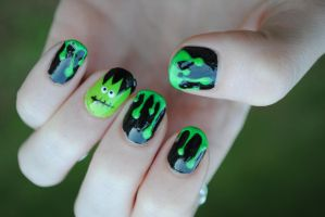 Green Slime and Frankenstein Nail Art by dancingmelons97