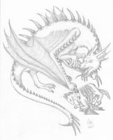 Dragon with prey by Elementlover