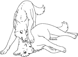 Free Wolf Couple Lineart 3 by Arukardis