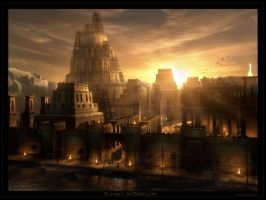 Sunset on Babylon by Raphael-Lacoste