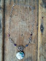 Abalone Pendant and Bead Fairymail Necklace by FaerieForgeDesign