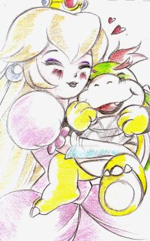 Princess peach and Bowser Jr sketch 2 by selene-nightmare69