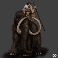 Prehistoric Kaidan riding Mammoth by XantheUnwinArt