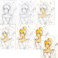 How to colour: Cinderella wedding dress! by UraniumUnlimited