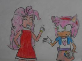 Amy Rose and Pinkie Pie colored by brandonale