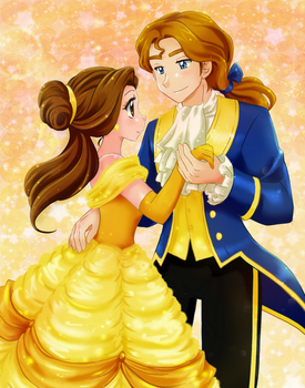 Belle and prince anime style - Commission by chikorita85