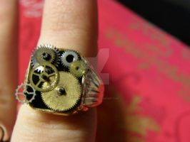 Steampunk Ring Golden by MotherBlessing