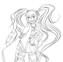 Vocaloid: Miku - LineArt- by EvilHateYouAll