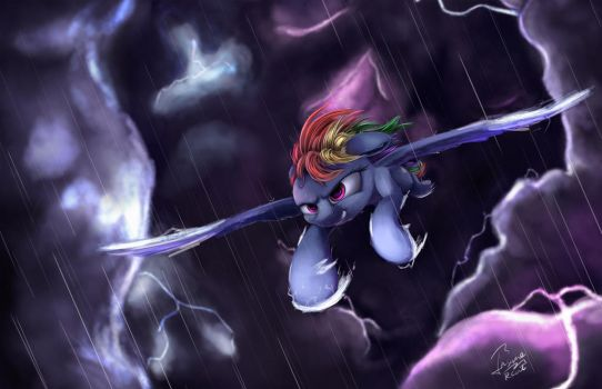 flight in storm by InsaneRoboCat