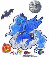 Nightmare Night Luna (coloured) by SkywalkerGirl666