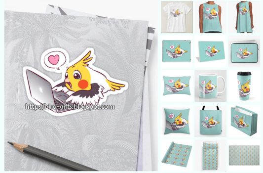 Nerdy cockatiel Macbook parrot gifts by emmil