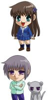 Fruits Basket: Tohru, Yuki, Kyo by cosplayscramble