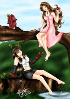 Aerith and Tifa Enjoy the Day by SassyLilPanda