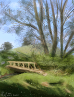 Speedpaint - The hills and a Bridge by Nin-Wolf