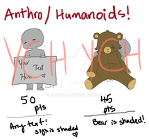 Anthro/Humanoid YCHs! by conwolf