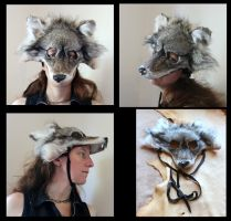 Brown wolf mask with fangs by lupagreenwolf