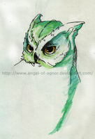 Owl Water Color Study by angel-of-agnor