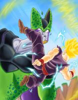 Gohan vs Cell by Mastens