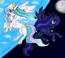 Princess Celestia and Princess Luna by PlagueDogs123