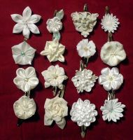 Large batch of kanzashi flowers by EruwaedhielElleth