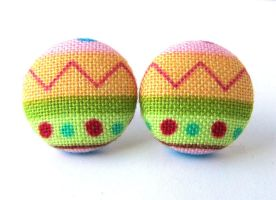 Easter egg stud earrings button spring bright by KooKooCraft