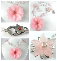 Silver Pink Resin Flower Crystal Necklace by DryGulchJewelry