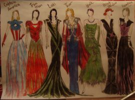 Avengers style: Evening dresses by Feles13
