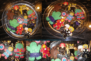 CO: Christmas Avengers + Captain Planet Cookies by wondering-souls