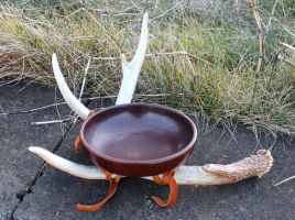 Wooden Offering Bowl on Antler Base by lupagreenwolf
