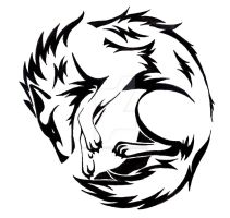 Circle Wolf tattoo by CaptainMorwen