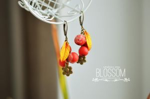 Rowanberry. Earrings from polymer clay by BlossomHandmade
