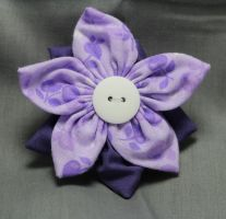 Purple Cherry Fabric Flower Hair Barrette by jenlucreations