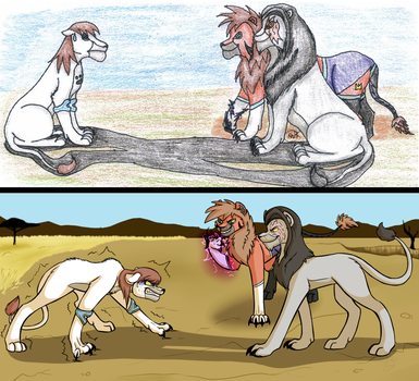 11 Year Old Art Redraw- Confrontation by SinLigereep