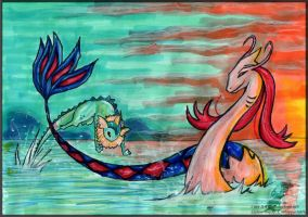 Milotic and Vaporeon - Azure by Embrymandre