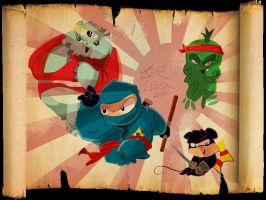 ninjinha and shuriken and team by jorcerca