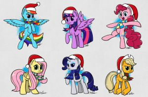 Christmas Mane 6 by sheandog
