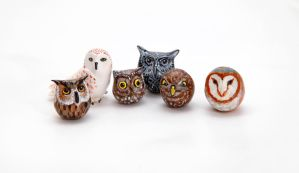 Tiny owls, polymer clay by lifedancecreations