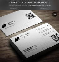 Clean & Corporate Business Cards - 04 by freebiespsd