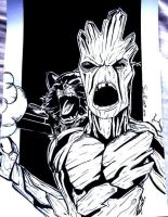 Groot And Rocket Racoon by samrogers