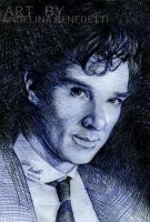 Benedict Cumberbatch Ballpoint Pen Portrait by AngelinaBenedetti
