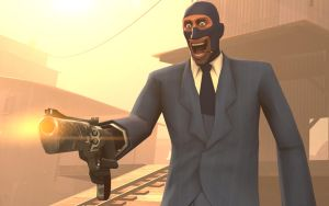 Team Fortress 2 Wallpaper Spy With Gun by DUNKMOVIES