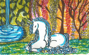 Unicorn in Forest by bluebellangel19smj