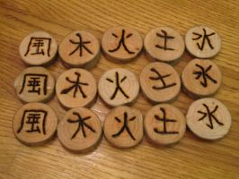 Wood Burned Kanji Runes by Enchanted-Forest